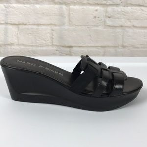 Marc Fisher Black Leather Slip on Wedge Sandals